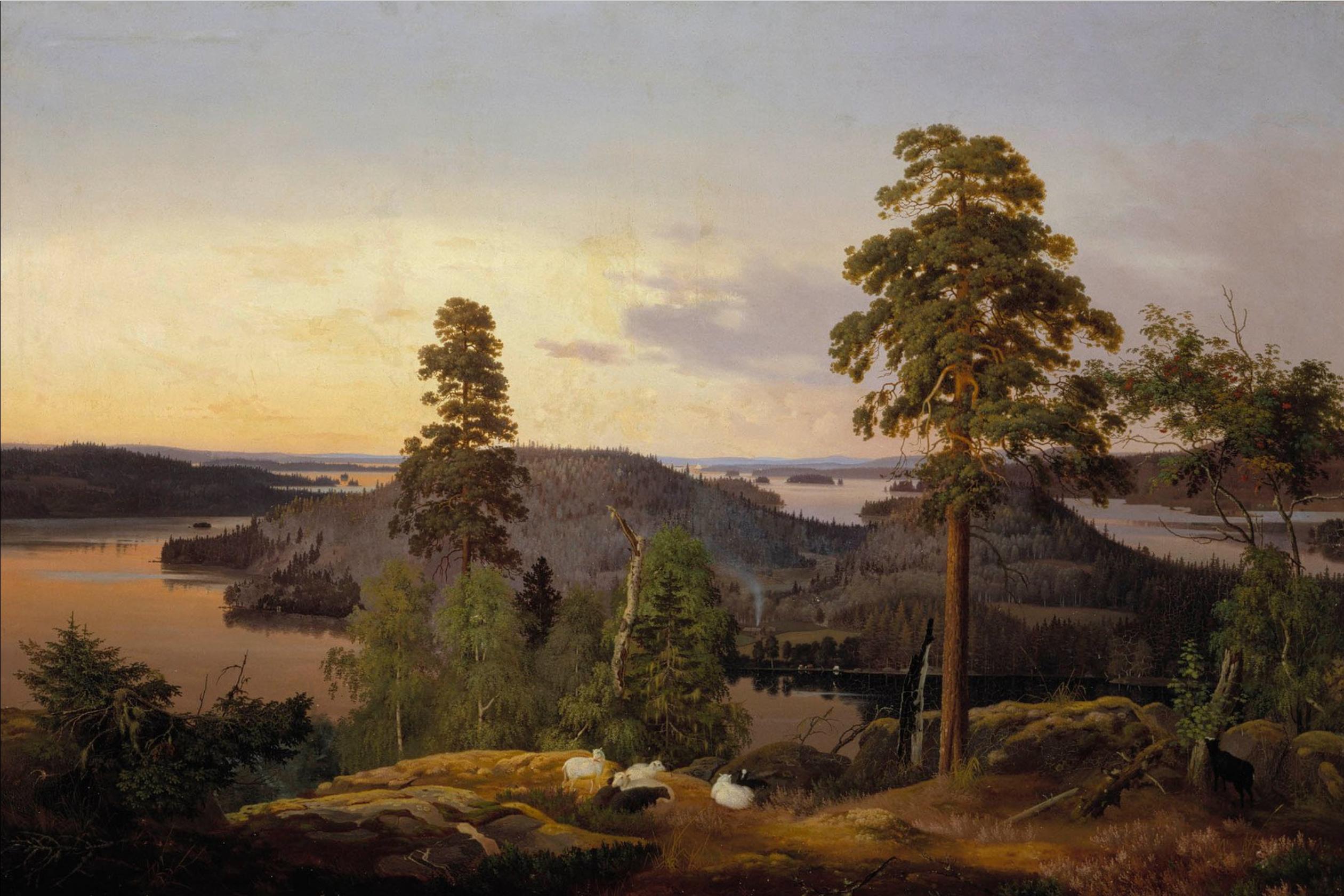 kansallisgalleria_maalaukset_maisemat_Wright_Ferdinand_von_Näköala_Haminalahdelta