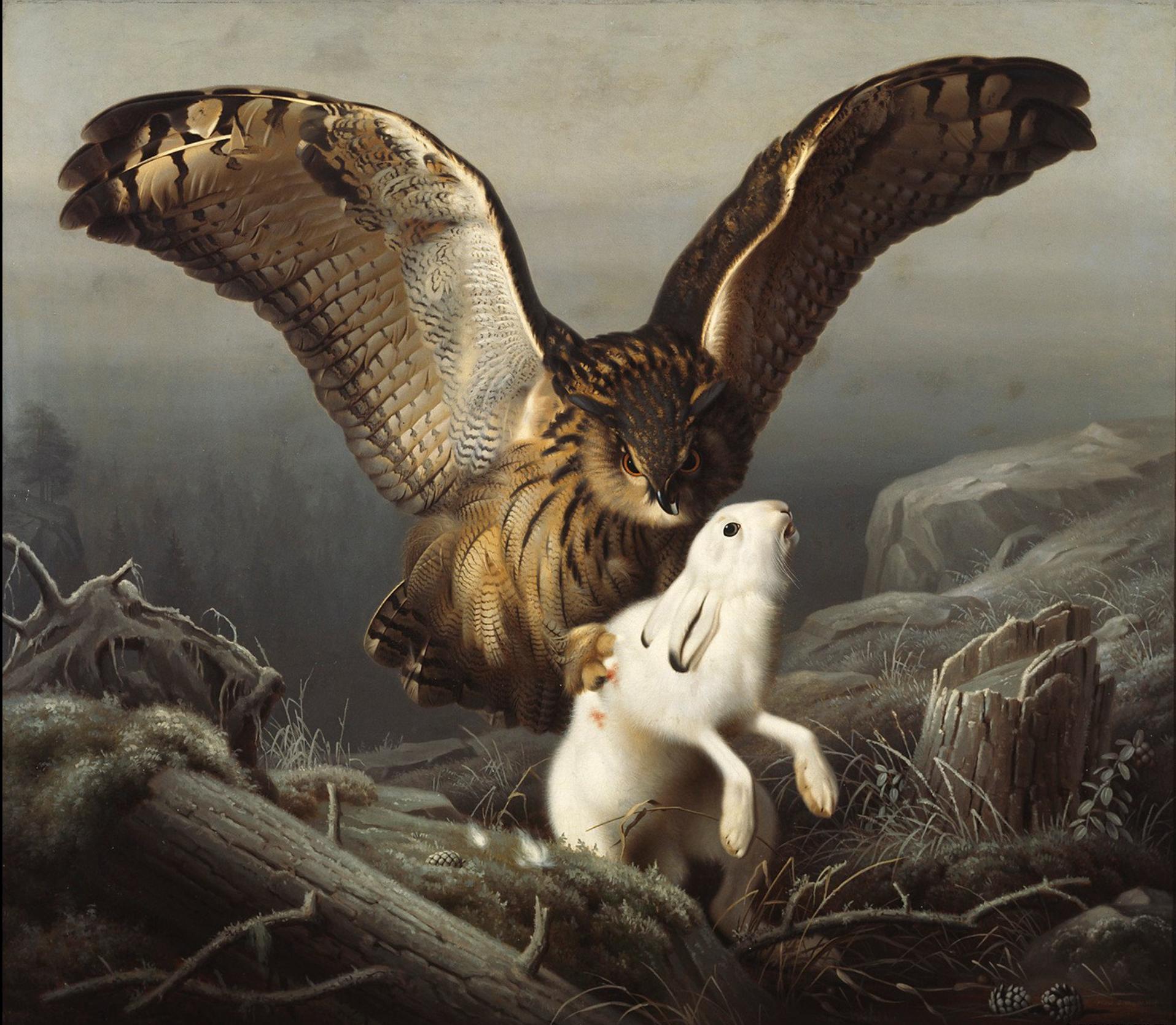 kansallisgalleria_maalaukset_linnut_Wright_Ferdinand_von_Huuhkaja_iskee_jänikseen_02