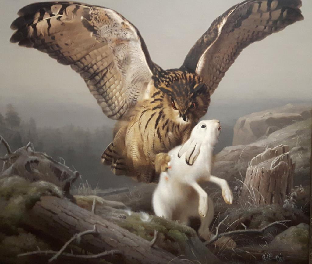 von_wright_Ateneum 25.11.2017 - Huuhkaja hyökää jäniksen kimppuun