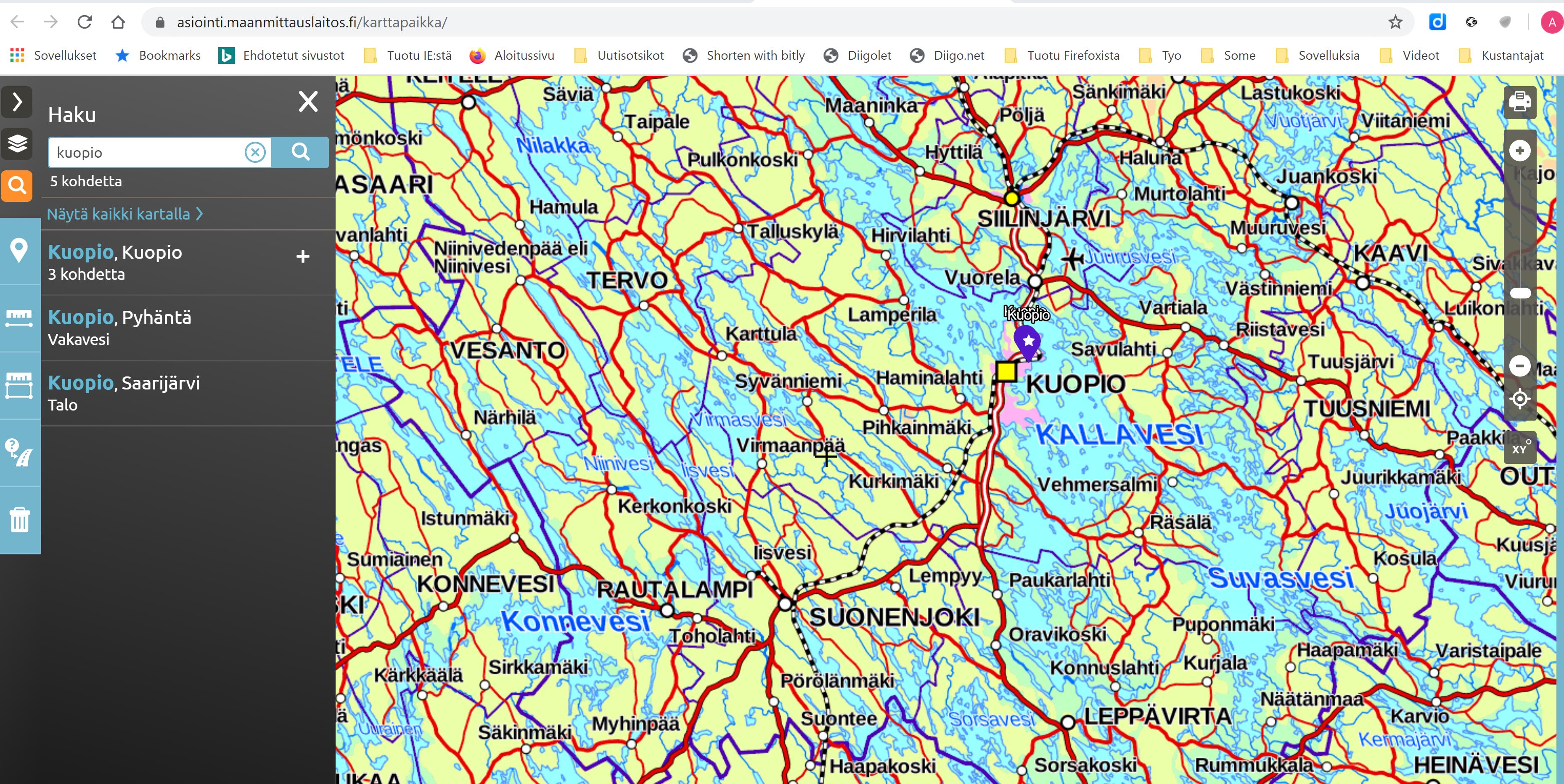 Maamittauslaitoksen karttapaikka: Linkin tekeminen